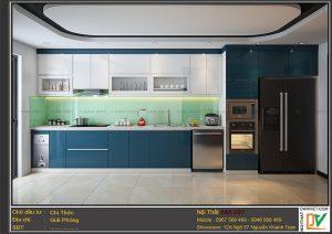 Tủ bếp acrylic màu xanh