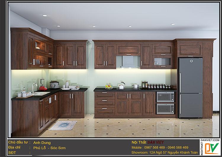 Tủ bếp gỗ sồi mỹ màu óc chó