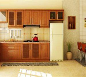 Mẫu thiết kế tủ bếp gỗ sồi Nga SN6